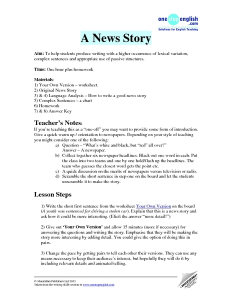 A News Story of Your Own: Sentence and Lexical Variety Lesson Plan