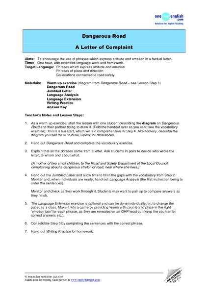 Dangerous Road: A Letter of Complaint Lesson Plan