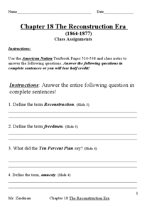 Chapter 18: The Reconstruction Era (Test) Worksheet