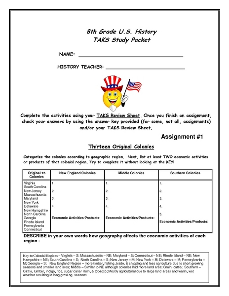 8th Grade U.S. History Task Study Packet Worksheet for 8th ...
