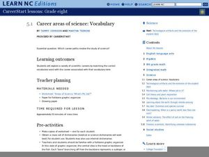Career Areas of Science: Vocabulary Lesson Plan