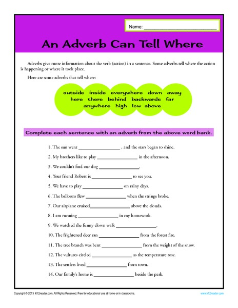 An Adverb Can Tell Where Worksheet