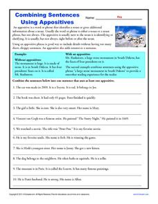 Combining Sentences Using Appositives Worksheet For 4th 8th Grade