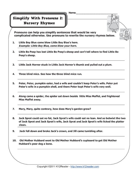 Simplify with Pronouns Worksheet Two Worksheet