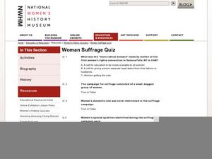 Woman Suffrage Quiz Worksheet