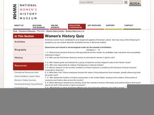 Women's History Quiz Worksheet