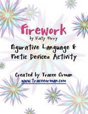 figurative language poetic devices activity firework by katy perry graphic organizer for 6th. Black Bedroom Furniture Sets. Home Design Ideas