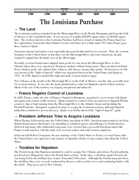 Worksheets Louisiana Purchase Worksheet the louisiana purchase reading and quiz 6th 8th grade worksheet lesson planet