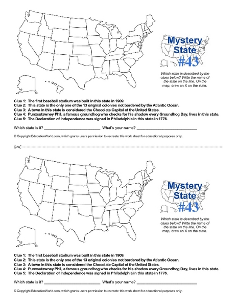 Mystery State #43 Worksheet