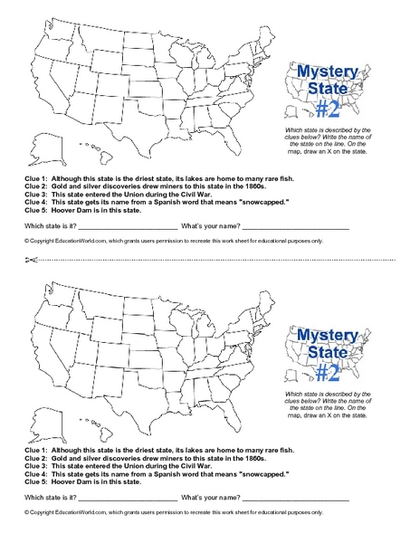 Mystery State #2 Worksheet