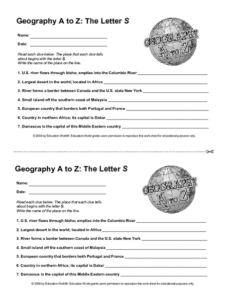 Geography A to Z: The Letter S Worksheet