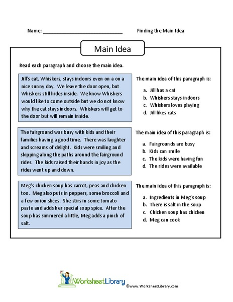 Finding The Main Idea Worksheet For 4th 6th Grade