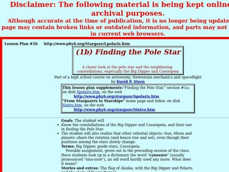 Finding the Pole Star Lesson Plan