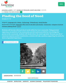 Finding the Seed of Need Lesson Plan