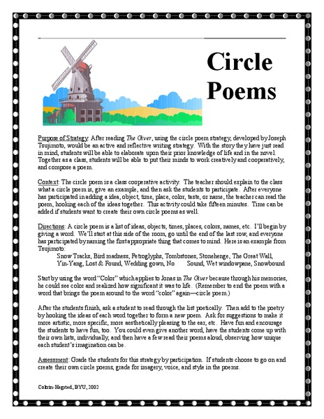 The Giver Circle Poems Lesson Plan For 3rd 5th Grade Lesson Planet