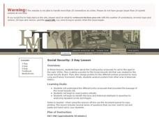 Social Security: 3 Day Lesson Lesson Plan