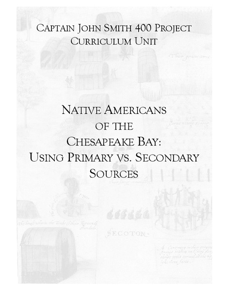 Native Americans of the Chesapeake Bay: Using Primary vs. Secondary Sources Lesson Plan