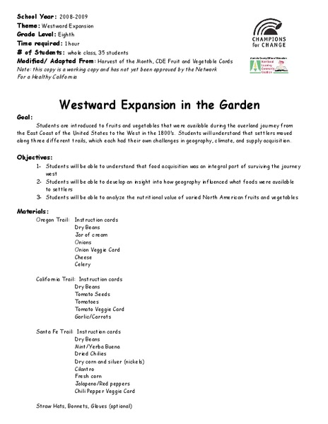 Westward Expansion in the Garden Activities & Project