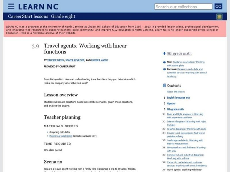 Travel Agents: Working with Linear Functions Lesson Plan