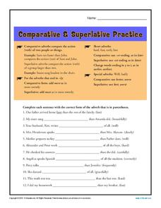 Comparative & Superlative Practice Worksheet
