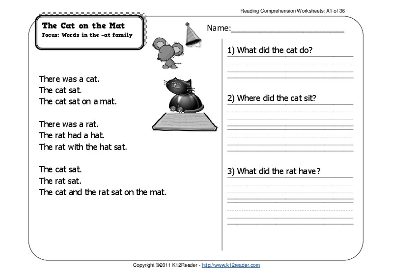 The Cat on the Mat Worksheet for 1st Grade | Lesson Planet
