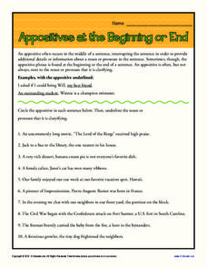 Appositives at the Beginning or End Worksheet