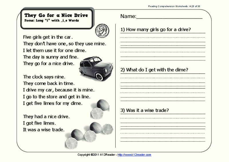 They Go for a Nice Drive Worksheet