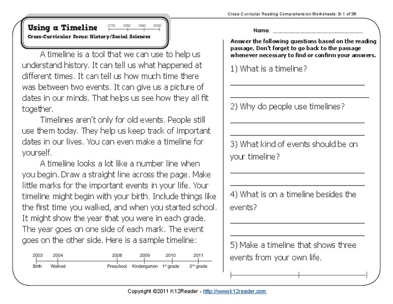 Using a Timeline Worksheet