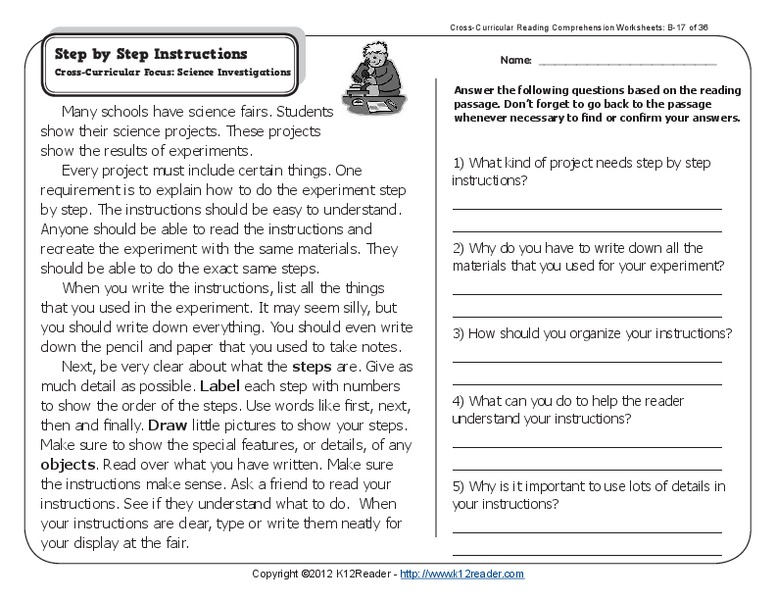 Step by Step Instructions Worksheet
