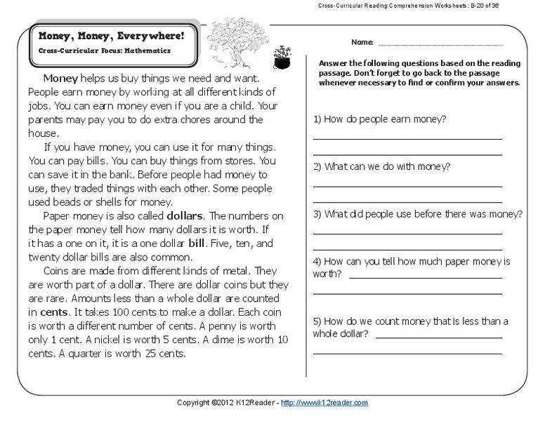 Money, Money, Everywhere! Worksheet