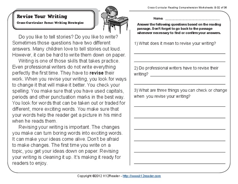 Revise Your Writing Worksheet