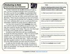 Evaluating in Math Worksheet