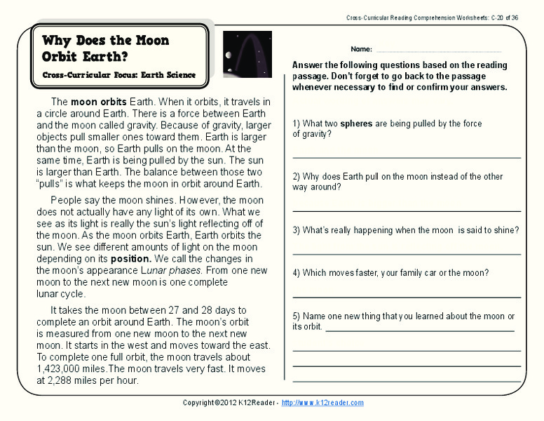 Why Does the Moon Orbit Earth? Worksheet