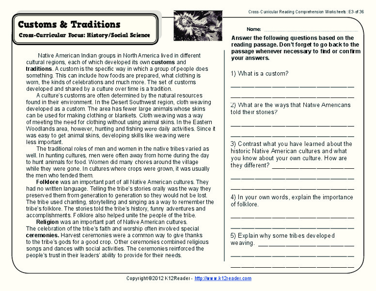 Customs and Traditions Worksheet