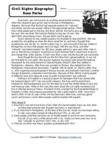 Civil Rights Biography: Rosa Parks Worksheet