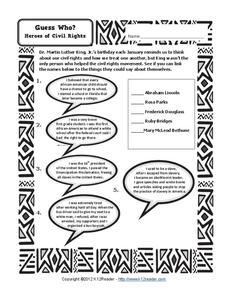 Guess Who? Heroes of Civil Rights Worksheet