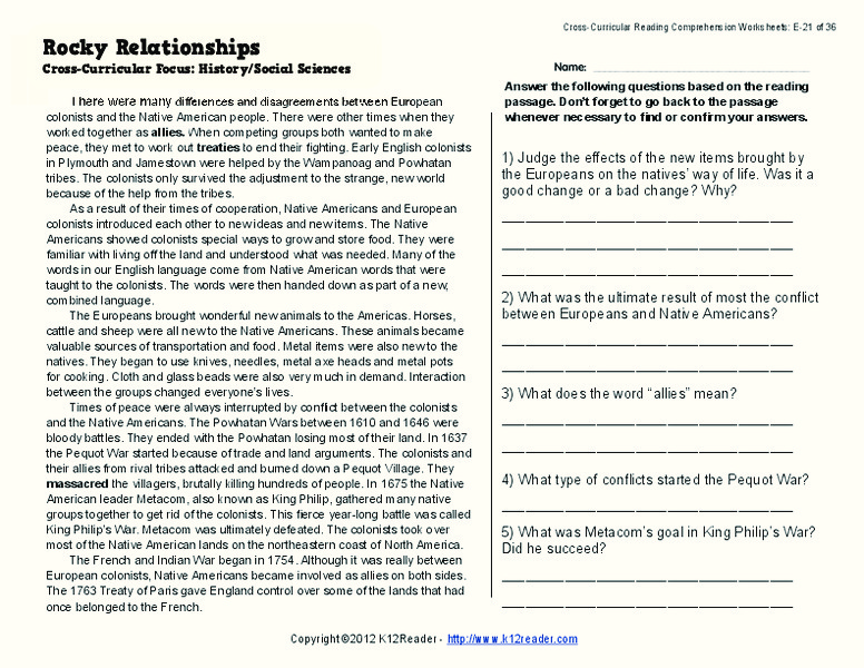 Rocky Relationships Worksheet