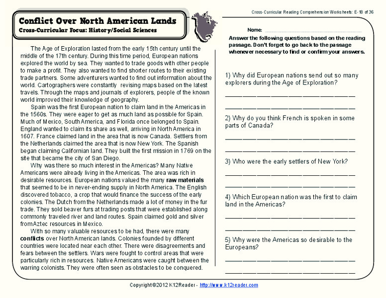 Conflict Over North American Lands Worksheet for 4th - 5th