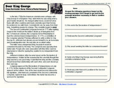 Dear King George Worksheet
