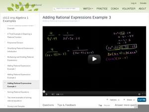 Adding Rational and Subtracting Expressions Example 3 Video