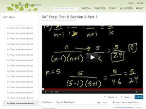 SAT Prep: Test 8 Section 8 Part 3 Video