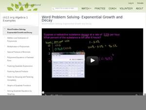 Word Problem Solving- Exponential Growth And Decay Video