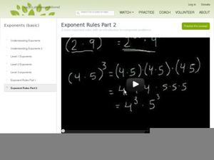 Exponent Rules Part 2 Video