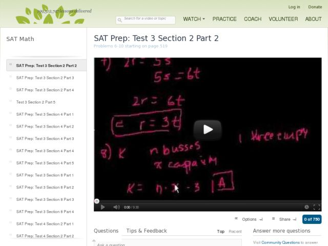 SAT Prep: Test 3 Section 2 Part 2 Video