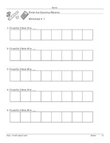 Finish the Counting Patterns Worksheet