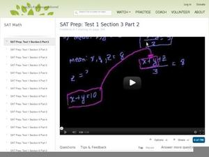 SAT Prep: Test 1 Section 3 Part 2 Video