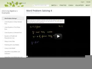 Constructing Linear Equations to Solve Word Problems Video