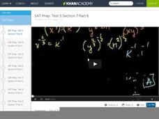 SAT Prep: Test 5 Section 7 Part 6 Video