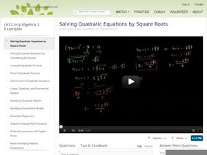 Solving Quadratic Equations by Square Roots Video