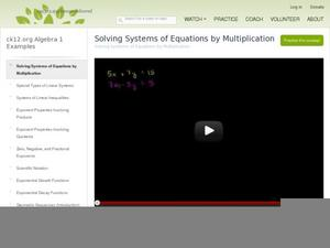 Solving Systems of Equations by Multiplication Video